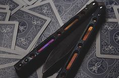 This #Benchmade 51 #balisong knife with #Flytanium V2 scales was given the dark treatmen