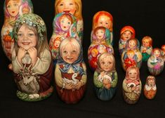 """Six Russian Matryoshka nesting dolls all with matte finish having 3-5 layers, all with markings on bottoms, see photos for details, largest being 7""""T."""