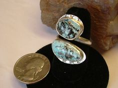 Large Utah Turquoise Fine Sterling Silver Jewelry Adjustable Ring to Sizes 7 1/2 to 10 1/2 090G