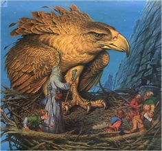 Fantasy Art for The Hobbit Eagle and Hobbit