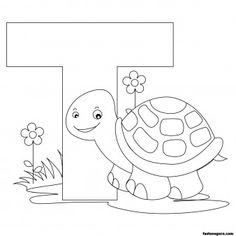 Free Printable Animal Alphabet worksheets Letter T is for Turtle