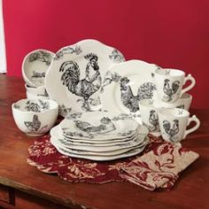 Rooster Toile Dinnerware