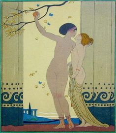 Illustration by George Barbier from Les Chansons de Bilitis,(The Songs of Bilitis)