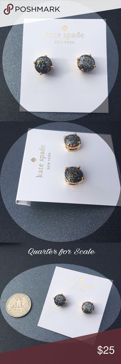 ♠️️Kate Spade Multi Color Glitter Gumdrop Studs♠️️ Gorgeous multi colored glitter Studs in Kate Spade's Gumdrop circular earring style. 12 karat gold plated metal, 14 karat gold filled posts, plastic stone. No longer available on Kate safe website. No dust bag. Purchased personally from Kate Spade Outlet kate spade Jewelry Earrings