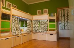 These look really easy (not built-in) and I like the privacy curtains, lights, and storage underneath!