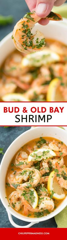 Bud and Old Bay Shrimp - A simple yet flavorful appetizer recipe of succulent shrimp simmered in beer, butter, and Old Bay seasoning. Time to get cooking!