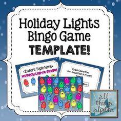 Holiday Lights Bingo Game Template