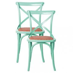 Mint green cross back dining chairs