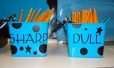 """Elementary organization. I had this in my classroom. It was made out of a large tin or coffee can (decorated on the outside). Eliminates wasted time in the classroom. We had the 5th Grade Safety Patrols sharpen the """"dull"""" ones each morning. Loved it!"""