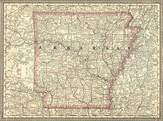 Arkansas State 1881 Historic Map Rand McNally Reprint