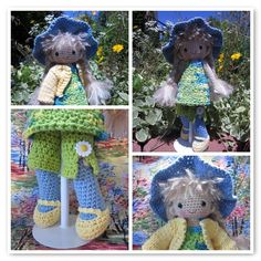 https://flic.kr/p/ckDRnG   Primrose   1. Primrose4, 2. Primrose16, 3. Primrose13, 4. Primrose17  Created with fd's Flickr Toys  Primrose is a sweet crochet doll from the Lily Sugar&Cream free pattern, with modifications to give her a move-able head, and cool knee joints courtesy of Joyce.  You can find the free pattern for the doll on the Lily Sugar&Cream site:  www.sugarncream.com/  And tutorials for the head and knee joints here:  www.byhookbyhand.blogspot.com