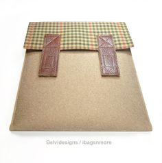 iPad 3 iPad 2 iPad 1 case / cover - Brown wool felt with plaid and leather closure