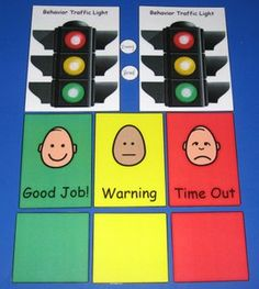 Behavior Traffic Light Chart & Card Set Poster for office. Green-happy and engaged, yellow-feeling upset/angry/not able to concentrate. red-need to leave the classroom for a walk or drink of water.