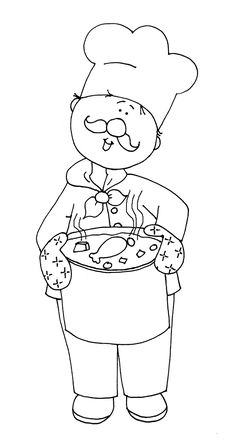 Free Dearie Dolls Digi Stamps: Chef with Chicken Soup Embroidery Patterns, Hand Embroidery, Chef Pictures, Boy Printable, Printables, Body Preschool, Community Helpers, Fall Crafts For Kids, Le Chef