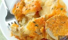 اسكالوب البطاطس بالجبن: المكونات: 2 حبة بطاطس كاملة بالقشر - 2 ملعقة كبيرة زبد - 1 قطعة جبن -بارميزان (( بطول حوالى 2 إنش )) - مقطعة لشرائح…