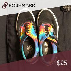 Tye dye black vans mens7.5/womens9 Fair condition Vans Shoes Sneakers