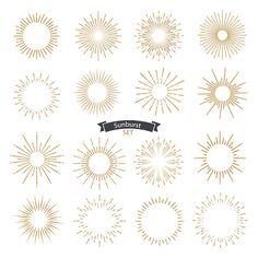 Set of sunburst design elements gold color. - Set of sunburst design elements gold color. Vintage style elements for graphic and website design. Sun Tattoos, Celtic Tattoos, Sun Rays Tattoo, Bird Tattoos, Feather Tattoos, Animal Tattoos, Sun Mandala, Mandala Sun Tattoo, Behind Ear Tattoos