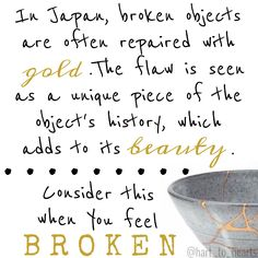 The first time I heard about this technique, I remember feeling immediately enlightened. Remember that no matter what life brings your way, there's always beauty to be found in the breakdown. Maybe it seems like it's not there, but I promise if you dig a little deeper, you will uncover it   @hart_to_hearts   #kintsukuroi #broken #live #beautyinthebreakdown #resilience #lifelessons #instaquote #quotes #miscarriage