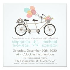 Shop Watercolor Tandem Bicycle Engagement Party Invitation created by ChirpsandBlooms. Personalize it with photos & text or purchase as is! Coral Wedding Invitations, Engagement Party Invitations, Custom Invitations, Invites, Bicycle Wedding, Love Birds Wedding, Invitation Paper, Invitation Ideas, Tandem Bicycle