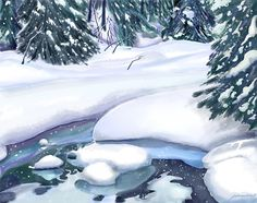 """Frozen Stream"" - Digital watercolour, in Snowy Landscapes Joan A Hamilton Watercolour Paintings, Watercolor Landscape, Watercolours, Watercolor Art, Paint Techniques, Snowy Mountains, Winter Art, Winter Scenes, Marker"