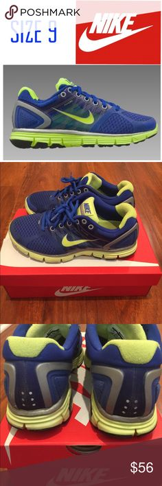 NIKE Lunarglide 2 Running Shoes NIKE Lunarglide 2 Running Shoes in blue and neon yellow/green. Good condition, soles have very little wear. Comfortable, well cushioned running shoe. Ships in NIKE shoebox. Nike Shoes Sneakers