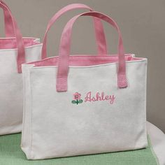 As a flower girl gift, the personalized tote bag is a great option for flower girls of any age. Your flower girl can carry her wedding accessories to the wedding in her own personalized flower girl bag and then use the tote bag for years to come, as a book bag, school bag or even ballet bag.