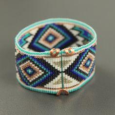 Jemez in perla blu telaio Bracciale Bohemian Boho di PuebloAndCo