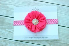 Your place to buy and sell all things handmade Cute Headbands, Diy Headband, Newborn Headbands, Hot Pink Flowers, Chiffon Flowers, Pink Damask, Head Bands, Fb Page, Coupon Codes