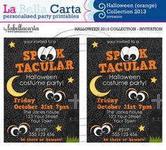 Halloween orange Personalised Party Invitation by LaBellaCarta