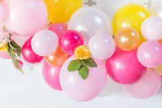 Bright bridal shower decor - balloon bridal shower decor - pink, hot + yellow balloon garland {Laura Kelly Photography}