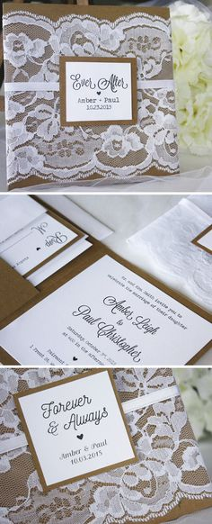 Rustic lace wedding invitations from always, byamber