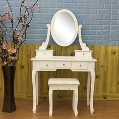 FCH stylish contemporary vanity table comes with swivel adjustable mirror, a piano stool decorated with floral pattern, and 5 storage drawers which are great for storing all your essentials. A smooth tabletop provides more space for cosmetics and beauty supplies. This vanity is great for little... more details available at https://furniture.bestselleroutlets.com/bedroom-furniture/vanities-vanity-benches/product-review-for-fch-princess-dressing-table-vanity-makeup-table-set-wi