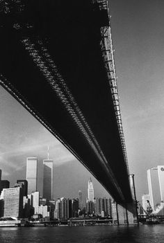 Alfred Eisenstaedt's 1983 portrait of the Twin Towers, taken from across the East River and beneath the Brooklyn Bridge.
