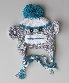 Take a look at this Blue Sock Monkey Earflap Beanie by Under The Hooded Towels on #zulily today!