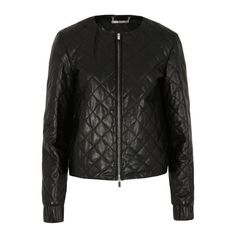 Diane Von Furstenberg Women's Delilah Leather Jacket - Black (12.820 UYU) ❤ liked on Polyvore featuring outerwear, jackets, casacos, black, leather, quilted leather jackets, diane von furstenberg jacket, real leather jackets, lined leather jacket and leather zip jacket