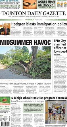 The front page of the Taunton Daily Gazette for Wednesday, Aug. 5, 2015.