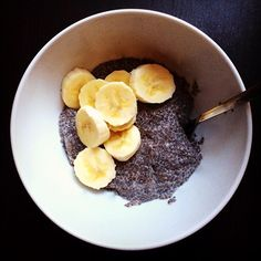 Chia seed pudding with almond milk and sliced bananas