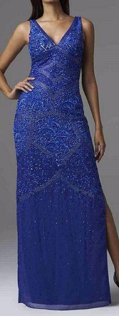 Aidan Mattox Dress Sz 0 Neptune Blue Sequined Sleeveless Formal Evening Gown #AidanMattox #BallGown #Formal