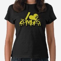 I Love Zombies Vibrant Banana Yellow t-shirts