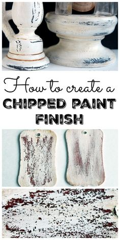 a Chipped Paint Finish Learn how to create a chipped paint finish on any surface with two different paint techniques!Learn how to create a chipped paint finish on any surface with two different paint techniques! Furniture Painting Techniques, Chalk Paint Furniture, Diy Furniture, Furniture Projects, Refinished Furniture, Furniture Design, Chalk Paint Techniques, Luxury Furniture, Furniture Makeover