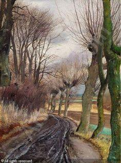 RING Laurits Andersen: Opkørt Vej med Piletræer ved Høje Taastrup, 1908
