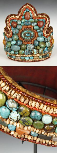 India ~ Ladakh | Headdress / crown; turquoise, carnelian, coral, mother of pearl, agate, silver, cotton and wool | 20th century | POR