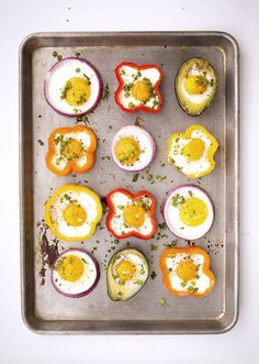 Cute way to fry/bake eggs! I reckon they'll also be slightly infused with the veggies' flavours too! Yum!