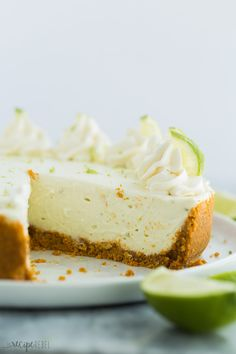 This easy Key Lime Cheesecake is a simple, no bake dessert that is perfect for Spring! It's sweet, tangy, creamy and so luscious! Made with fresh lime juice and zest. Lime Desserts, Fancy Desserts, No Bake Desserts, Just Desserts, Dessert Recipes, Lime Cheesecake No Bake, Cheesecake Desserts, Yummy Snacks, Delicious Desserts