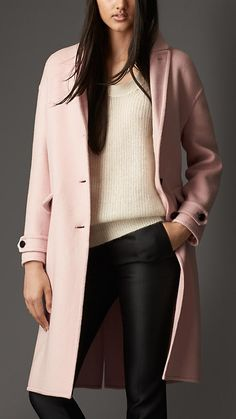 Double Cashmere Dropped Shoulder Coat from Burberry expensive fashion pink coat Girl Fashion, Fashion Looks, Fashion Outfits, Fashion Trends, Burberry Women, Burberry Coat, Cashmere Coat, Dress With Cardigan, Mode Style