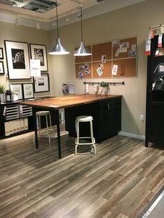 This ikea butcher block and cabinet situation would be a fantastic cutting table for a sewing room.
