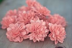 These 4 coral wooden flowers are perfect for wedding, bridal shower or baby shower decor. Resembling a blooming Dahlia, these flowers are ideal