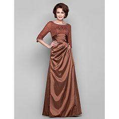 Sheath/Column Bateau Floor-length Tea-length Charmeuse Lace Evening Dress – USD $ 199.99