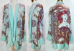 Vintage Closet Turquoise Blue Velvet Burnout Beaded Art Nouveau Mucha Robe Coat