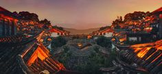 Roof top view in a nameless Chinese village at dusk